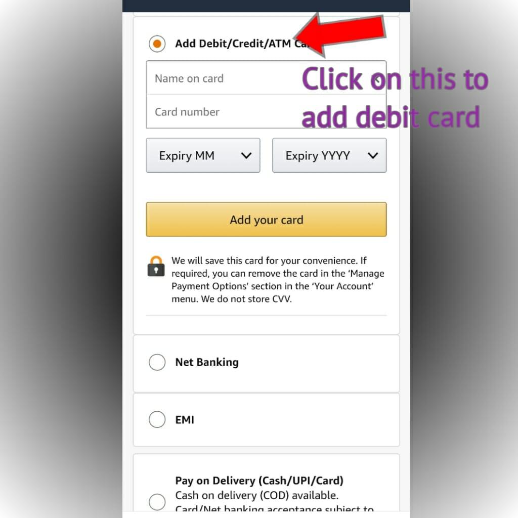adding debit card in amazon